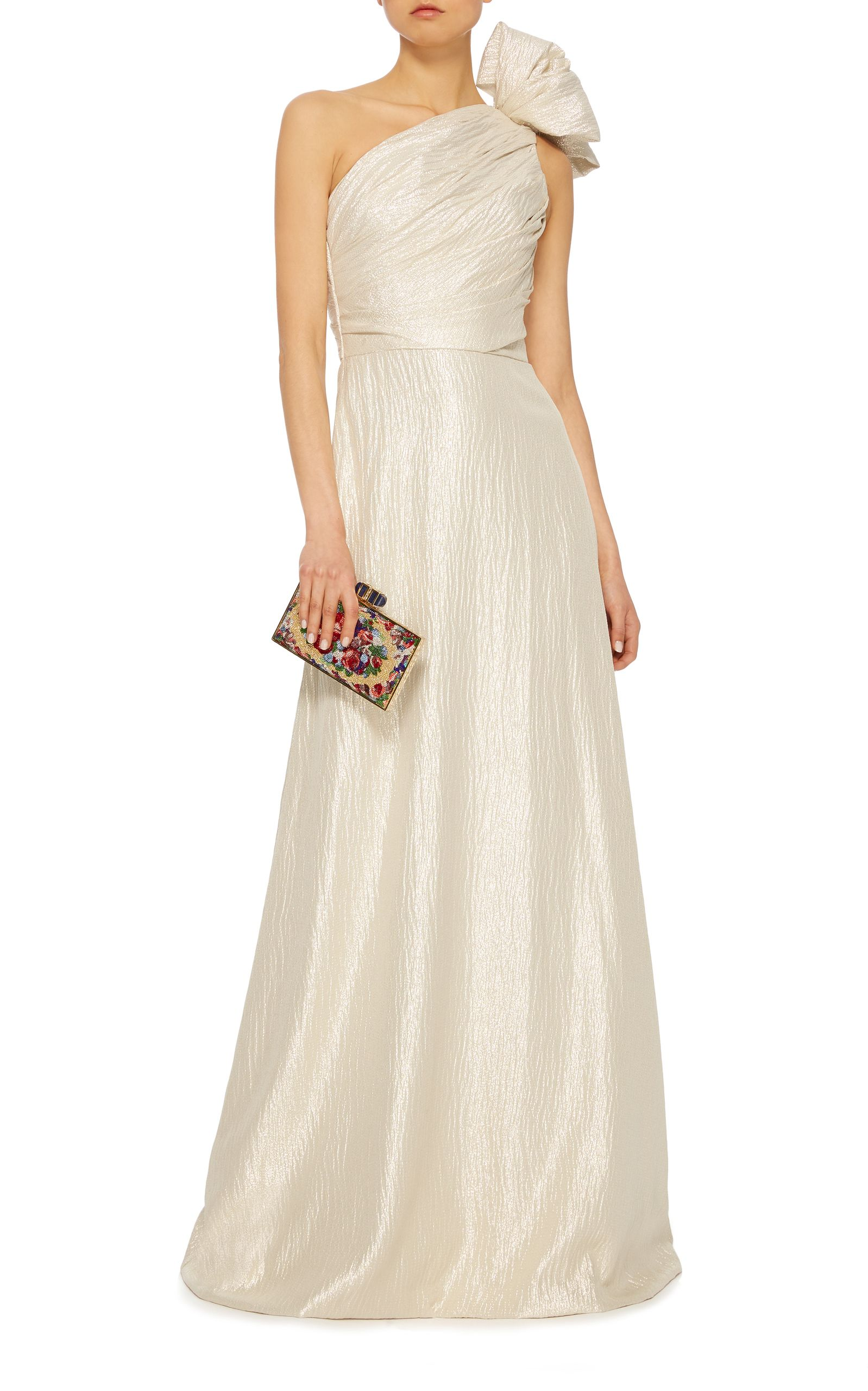 Wedding dress with bow on back  Elizabeth Kennedy OneShoulder Gown with Bow u Back Train