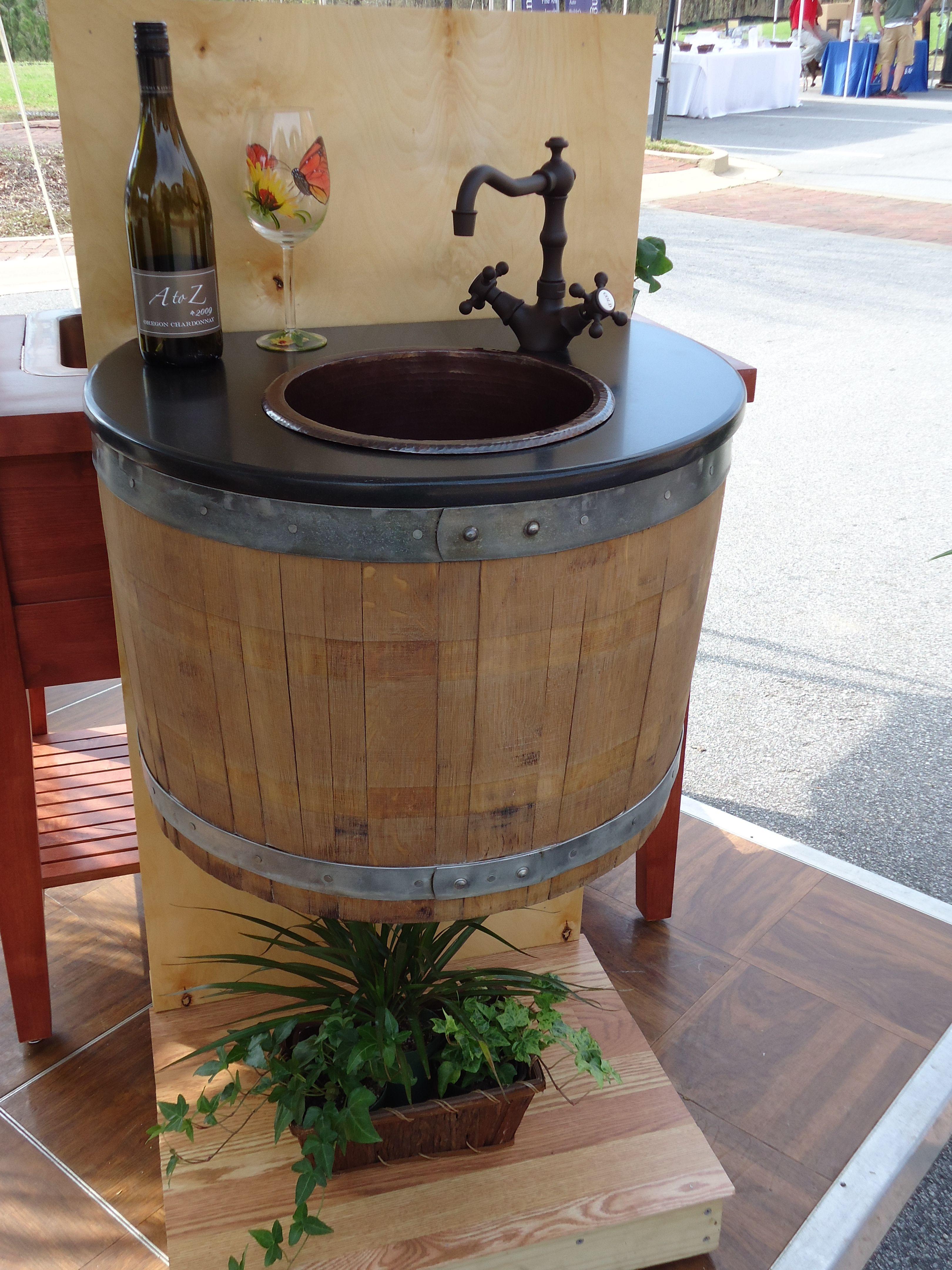 Wine Barrel Bar Sink--on display at PDI's Lake Oconee Showroom