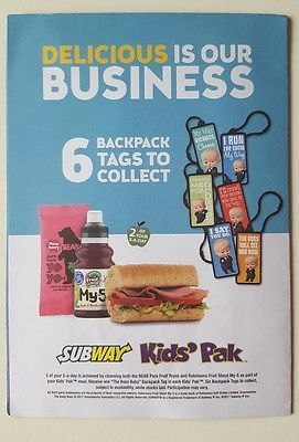 Dreamworks Subway Kids Meal Toy The Boss Baby Backpack Tag And