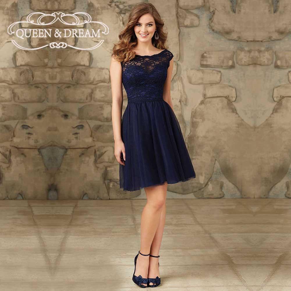 b9347e74b9a Pas cher Bleu marine dentelle Tulle Satin V Back a ligne Simple demoiselle  d honneur court robes robes De Festa De Casamento BD07