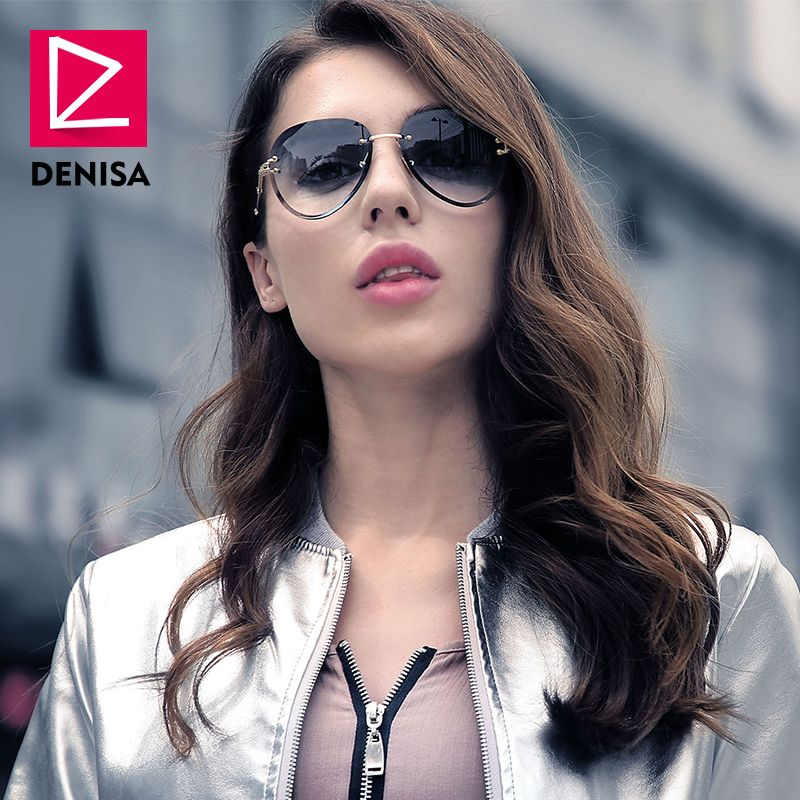 909d499992 DENISA Fashion Blue Red Aviation Sunglasses Women Men Driving UV400 Sun  Glasses Clear Vintage Glasses zonnebril
