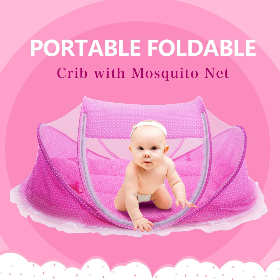 Crib pillows babies - Foldable New Baby Crib 0 3 Years Baby Bed With Pillow Mat Set Portable Folding