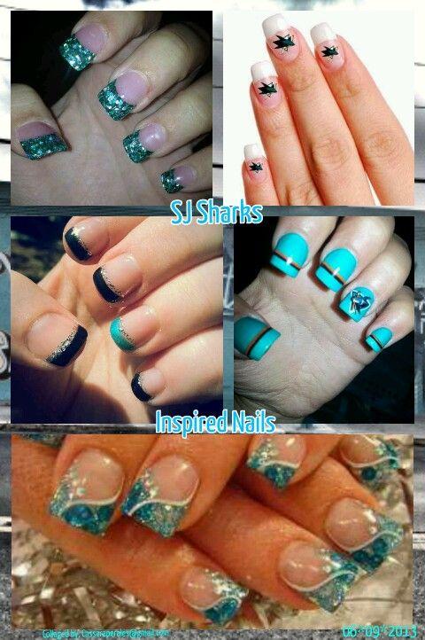 Sj Sharks Inspired Nails Shark Nail Art San Jose Sharks Nails Nails