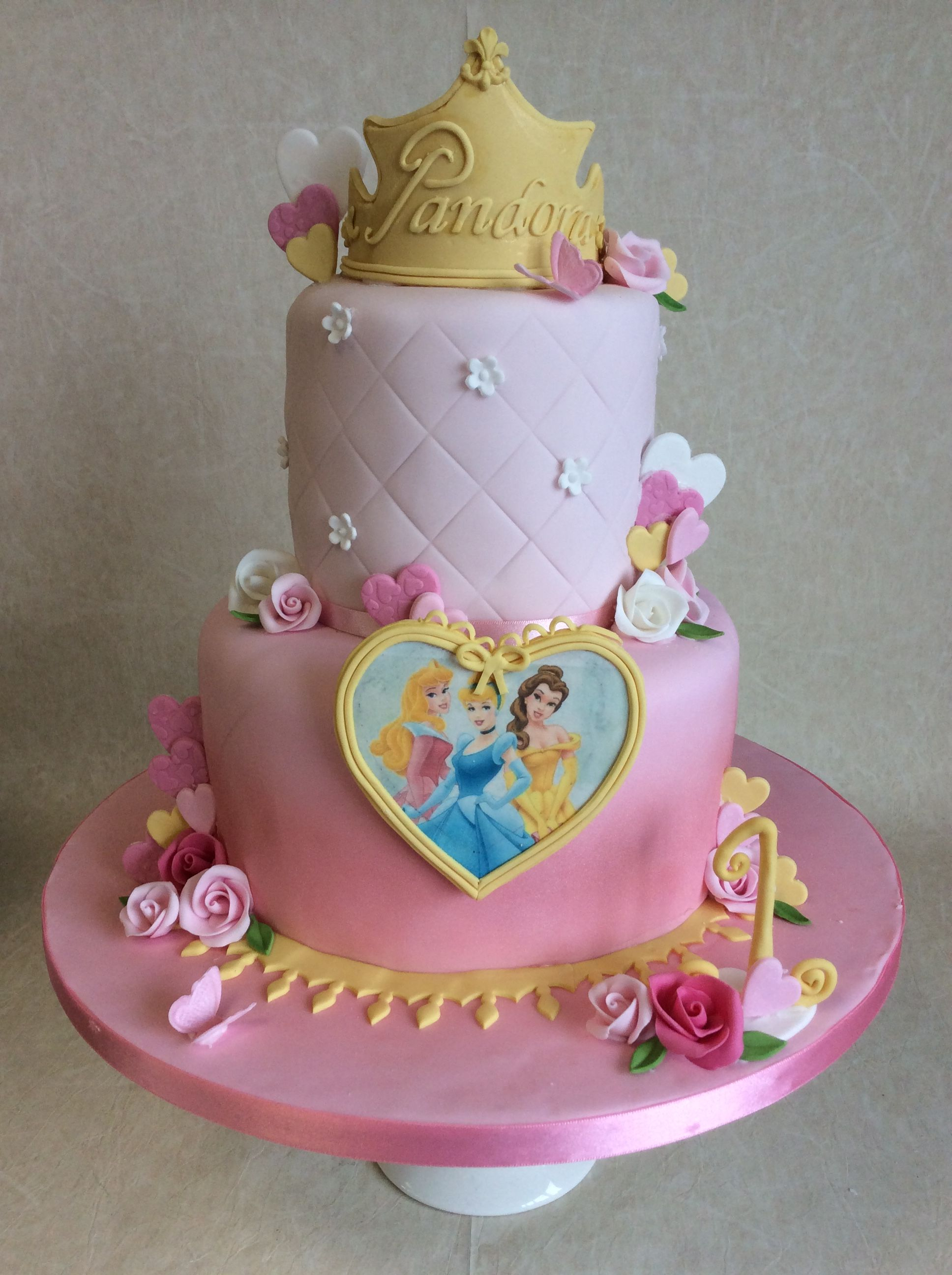 2 Tier Disney Princess Theme 1st Birthday Cake