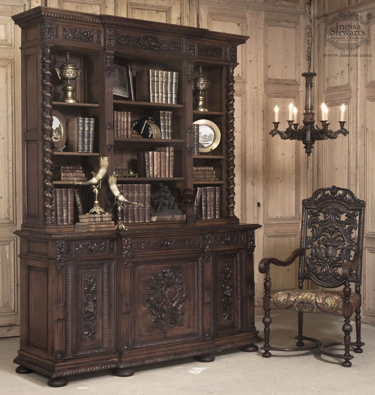 Best Baton Rouge Antique Bookcase Leather Living Room 400 x 300