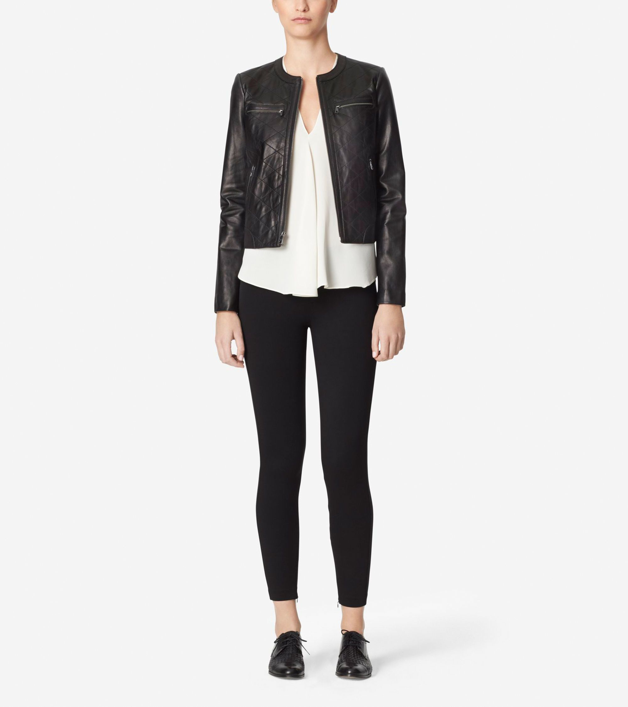 Collarless Leather Jacket Collarless Leather Jacket Women Outerwear Jacket Leather Jacket [ 2250 x 2000 Pixel ]