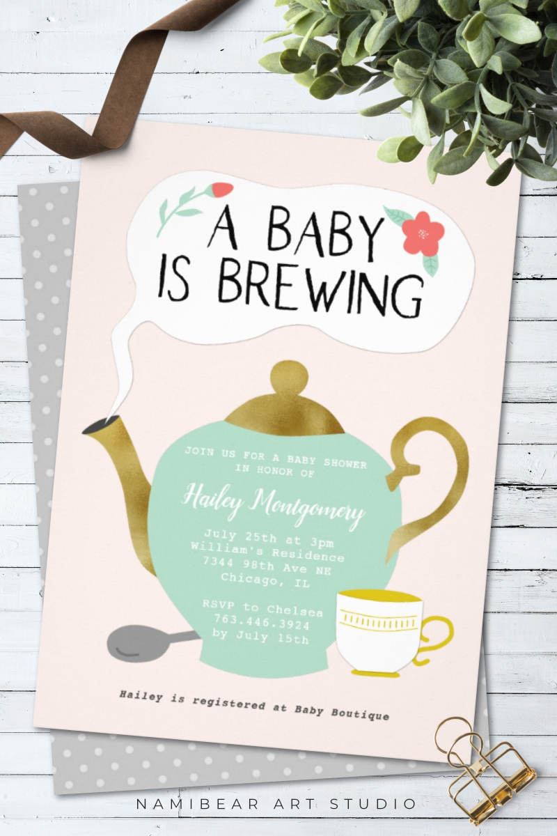 Tea Party Pink Baby Shower Baby Is Brewing Invitation Zazzle Com Tea Party Baby Shower Invitations Tea Party Baby Shower Theme Baby Shower Fall