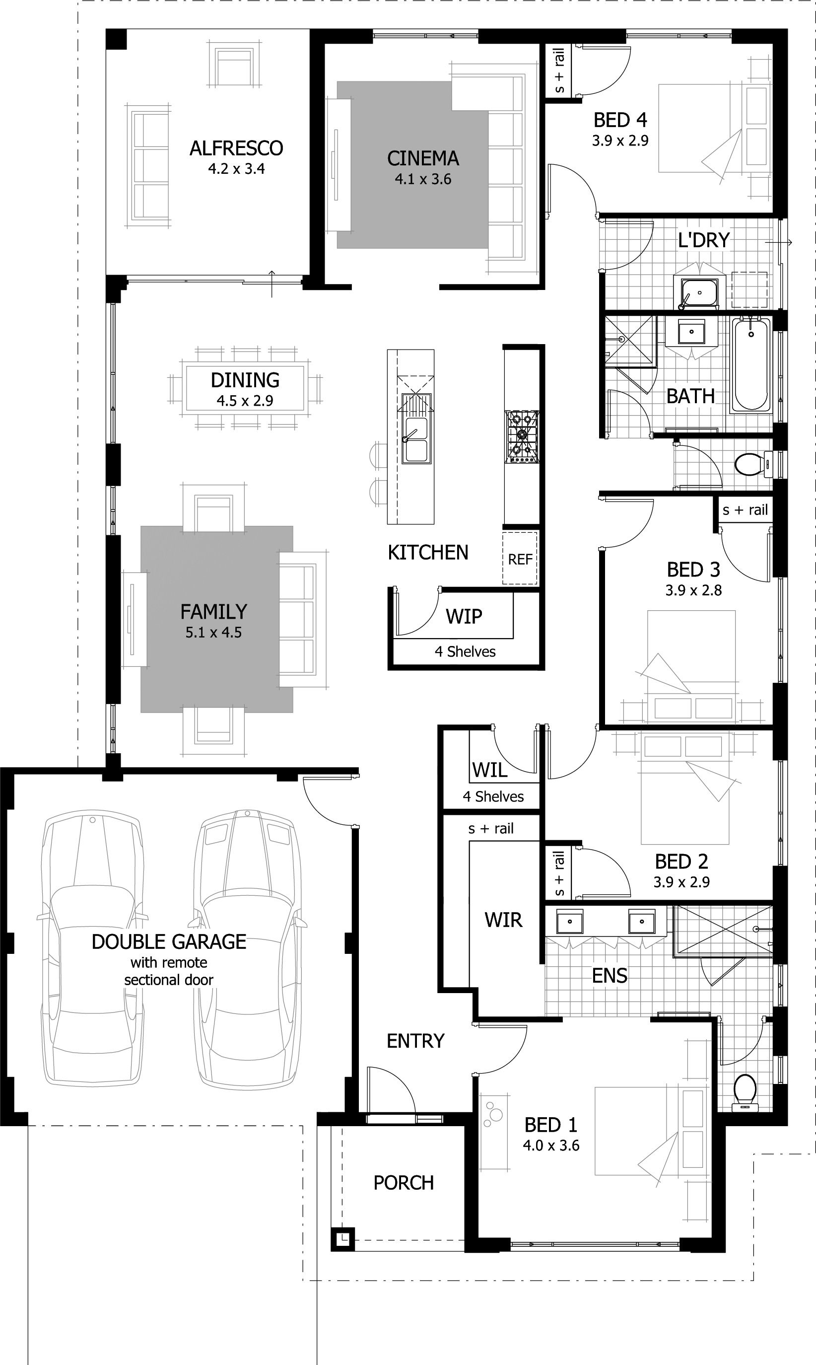 The Knightley Is An Innovative Design With Family Friendly Features That You Will Love This Home Has House Layout Plans New House Plans 4 Bedroom House Plans