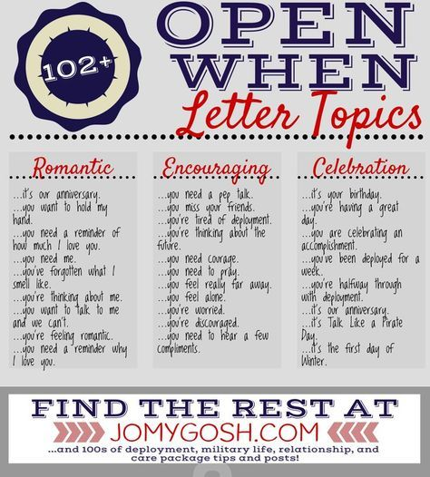 Open When Letter Topics  Diy Ideas And Craft