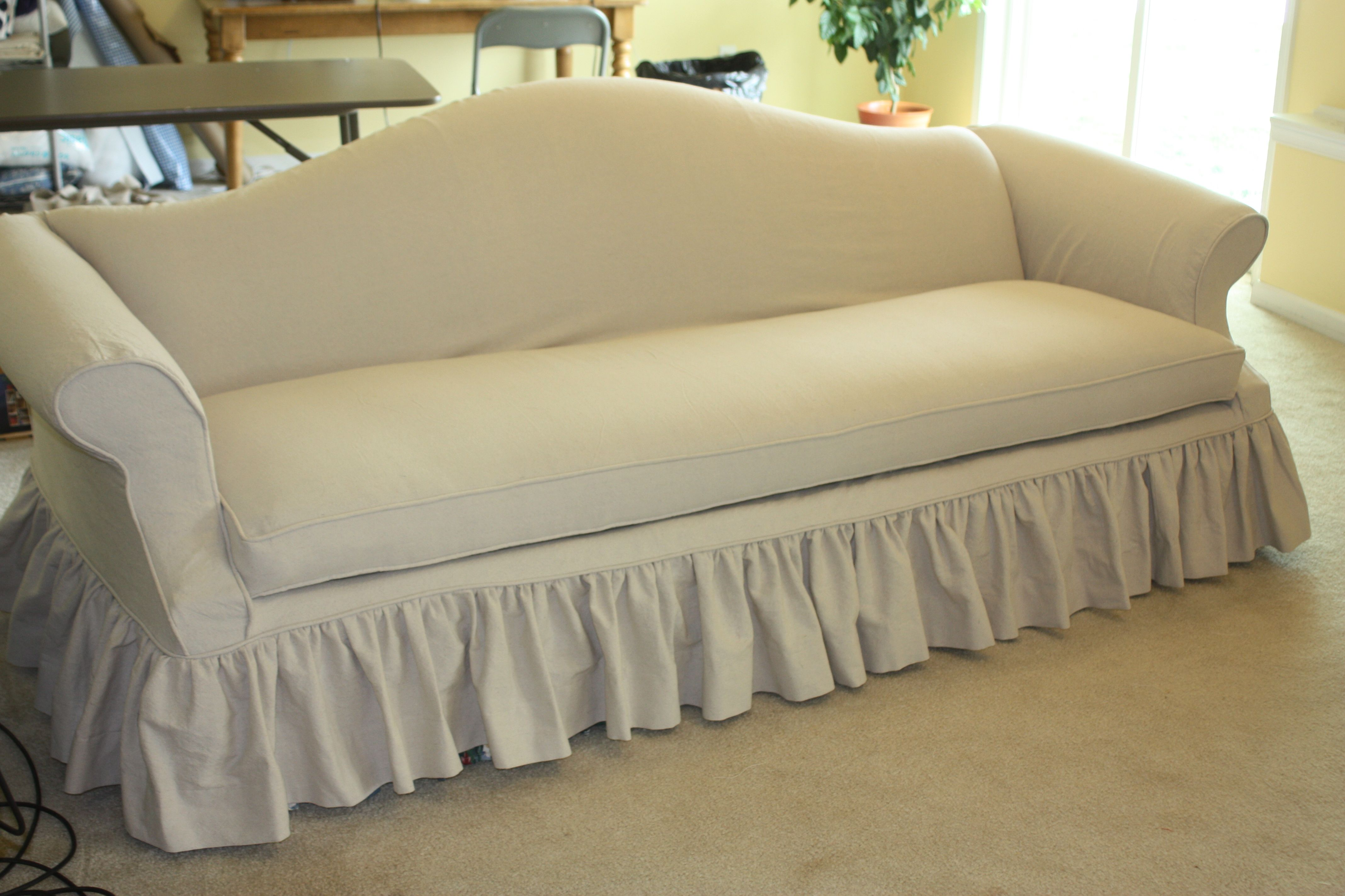 Drop cloth sofa slipcover with gathered skirt at Twill Slipcover
