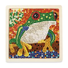 """The Tree Frog Mosaic is a MindWare Exclusive! The process is fascinating, and the results are beautiful. Each little 1/8""""-wide ceramic tile is individually formed and glazed for an amazing-quality finished mosaic artwork. An adhesive template lets pieces be easily placed and repositioned and allows the project to sit in between sessions. 7"""" square. Made in Morocco."""