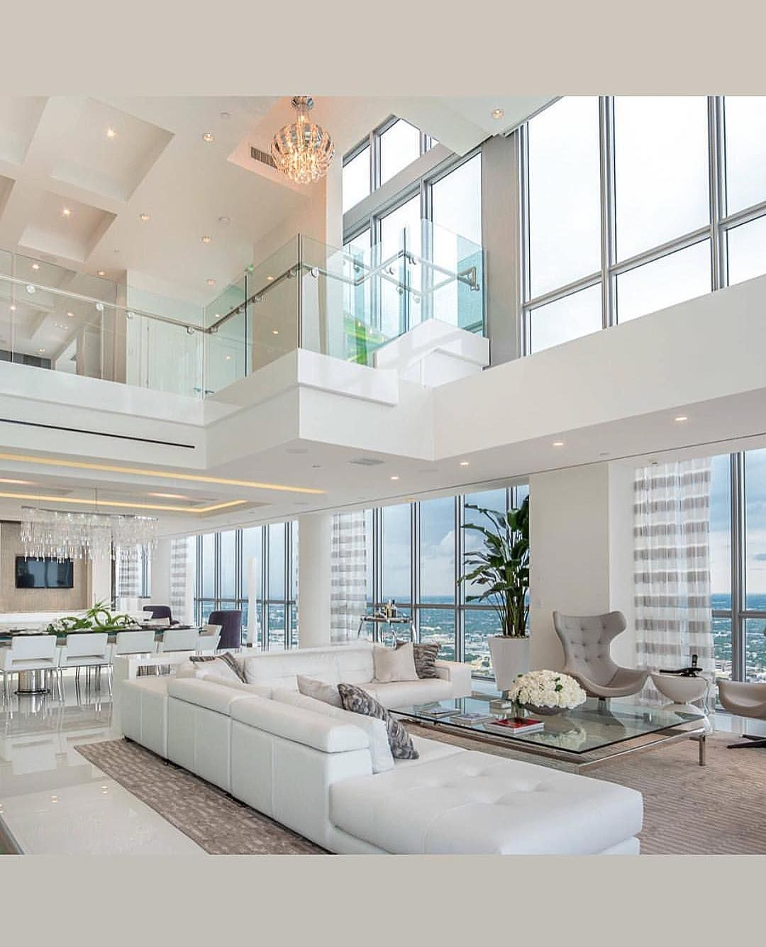 Glass Railing Overhanging The Living Room With High