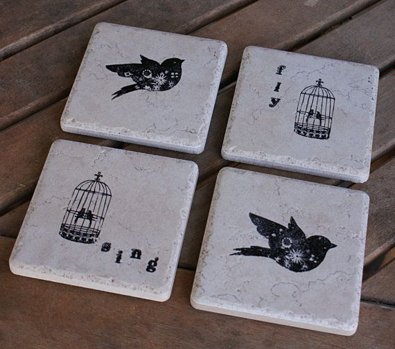Decorative Tile Coasters Impressive Ceramic Bird And Birdcage Sing Fly Coasters Or Decorative Tiles Decorating Inspiration