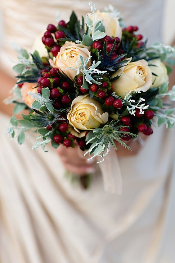 Ivory roses thistle and cranberries for an oirignal bouquet ivory roses thistle and cranberries for an oirignal bouquet junglespirit Choice Image