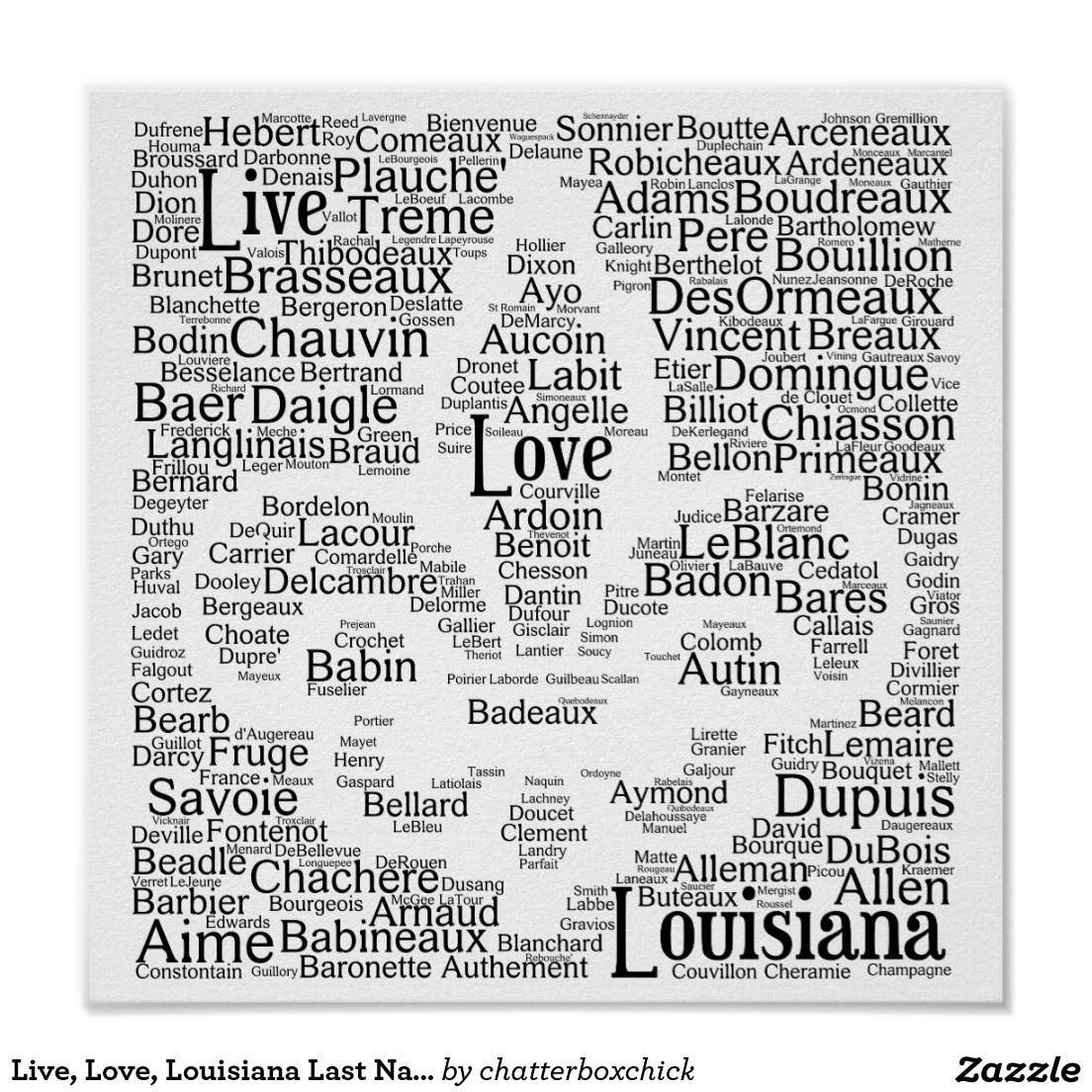 Live Love Louisiana Last Names Fleur De Lis Poster