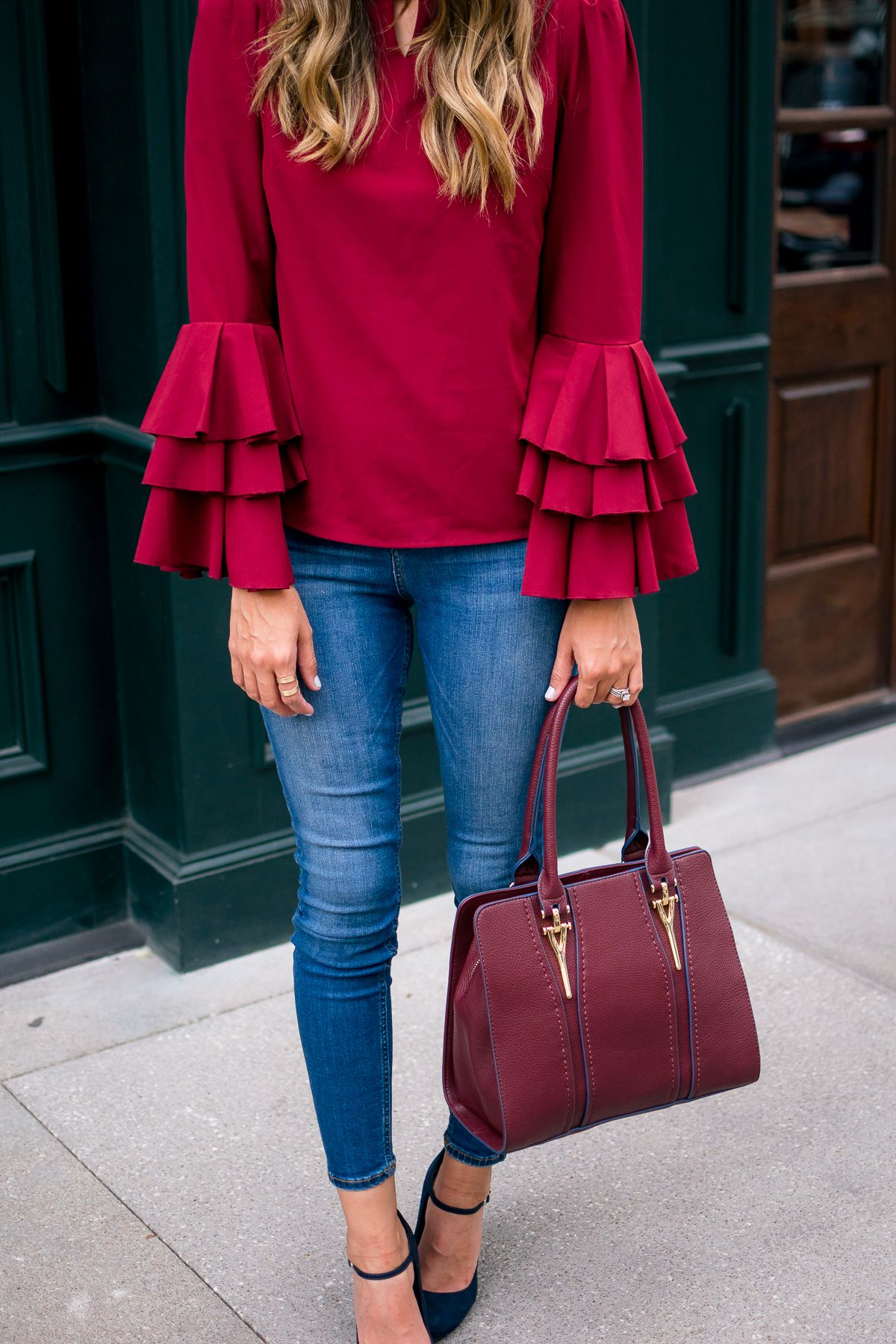 Wine Ruffled Sleeve Top, Holiday Style | STYLE THE GIRL ...