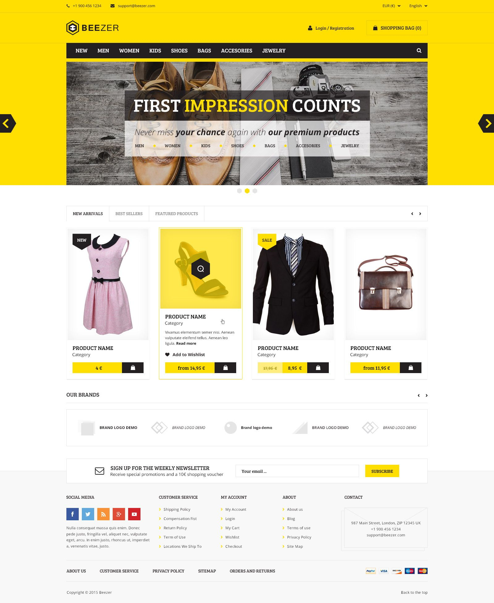 Beezer Ecommerce Psd Template Psd Templates Website Design Inspiration Ecommerce