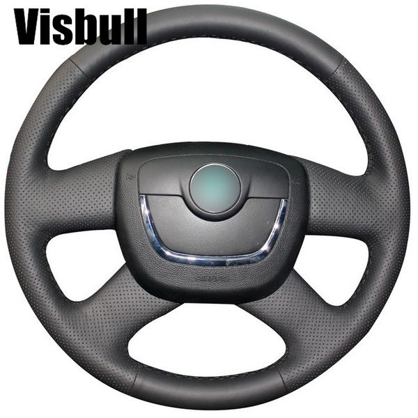 Black Artificial Leather Steering Wheel Cover For Skoda Octavia