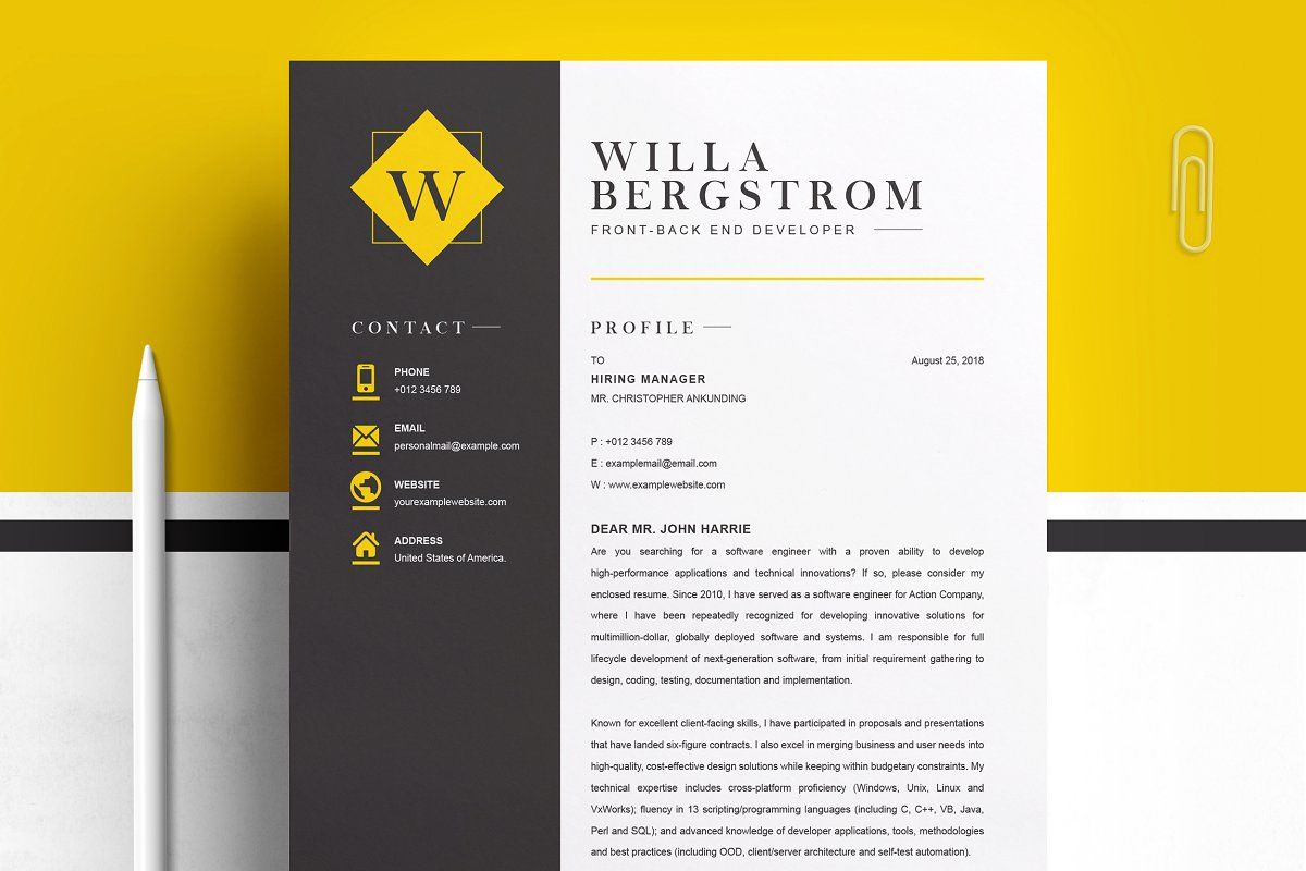 Minimal yellow resume template cv spon