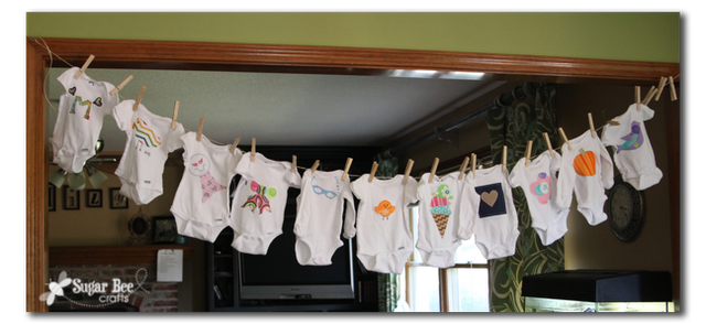Sugar Bee Crafts: sewing, recipes, crafts, photo tips, and more!: Appliqued Onesie - Glasses on a chain baby shower craft...Becky?