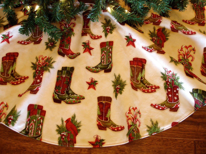 Western Christmas Tree Skirt, Cowboy Boots Tree Skirt