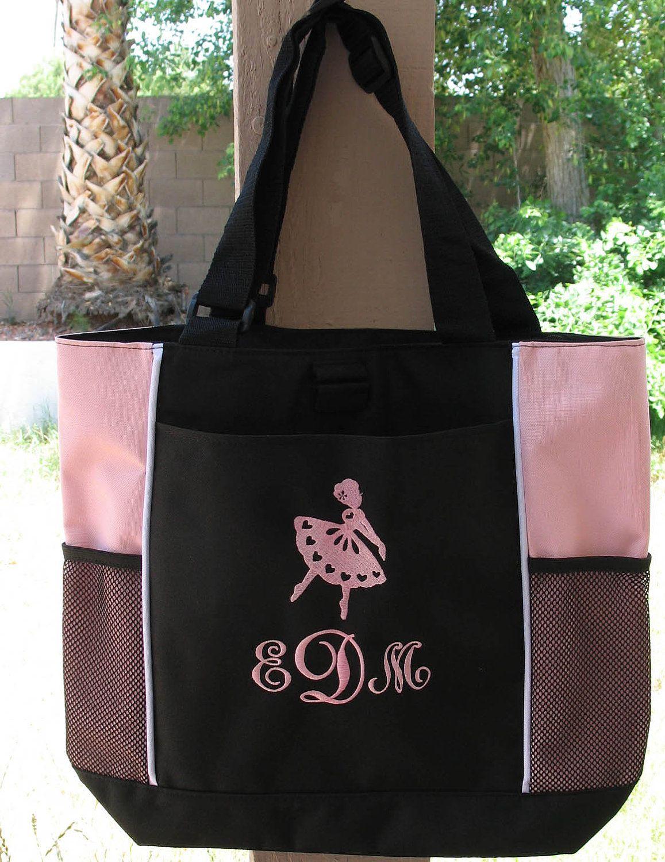 S Personalized Ballet Tote Bag Monogrammed Dance Bookbag 19 99 Via Etsy
