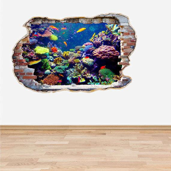 Coral Reef Fish Wall Decal Smahed Wall 3D Effect Fish Coral & Coral Reef Fish Wall Decal Smahed Wall 3D Effect Fish Coral | RV ...