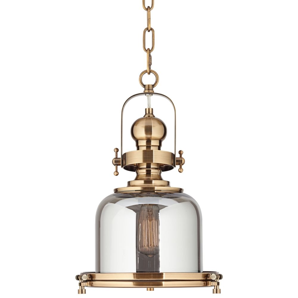 Elida antique brass 11w chrome glass mini pendant light style 1f211
