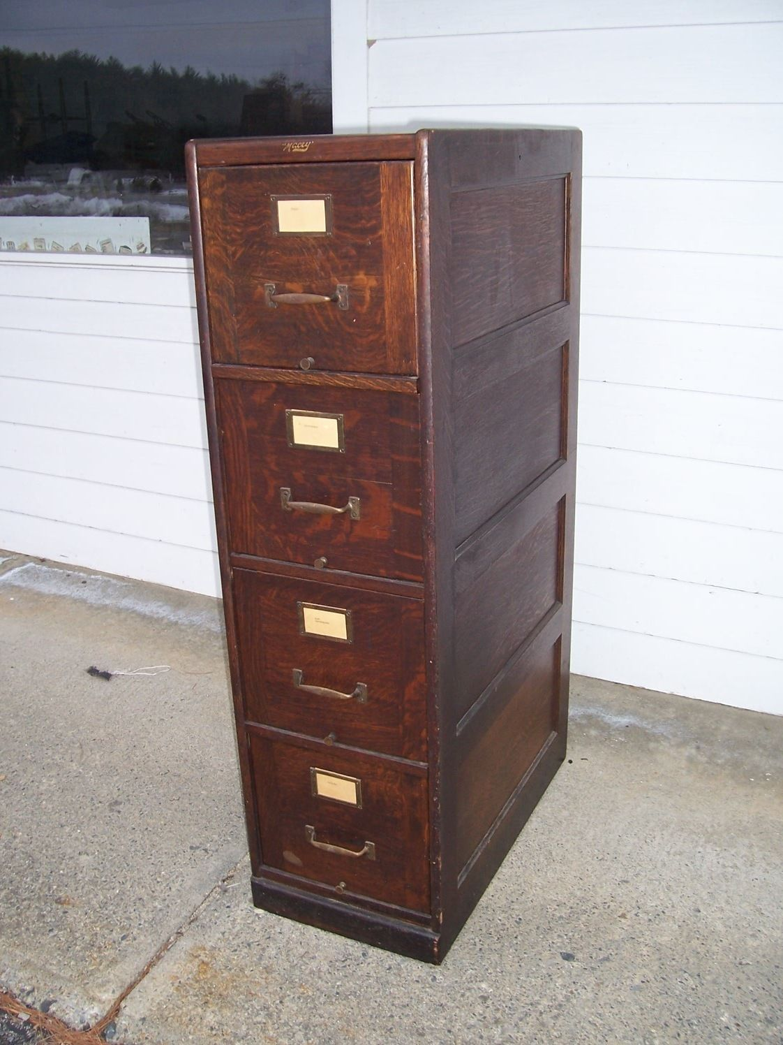 Antique Quarter Sawn Oak 4 Drawer File Cabinet Doctor's Lawyer's ...