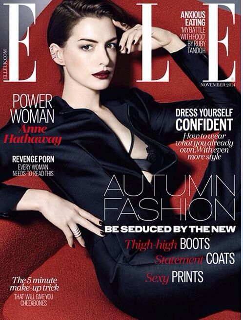 Latest issue of Elle UK magazine starring Anne Hathaway... download the app here: http://bit.ly/ElleUK