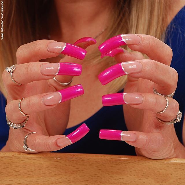 My acrylic nails in a pretty colored French tip design   Manicures ...