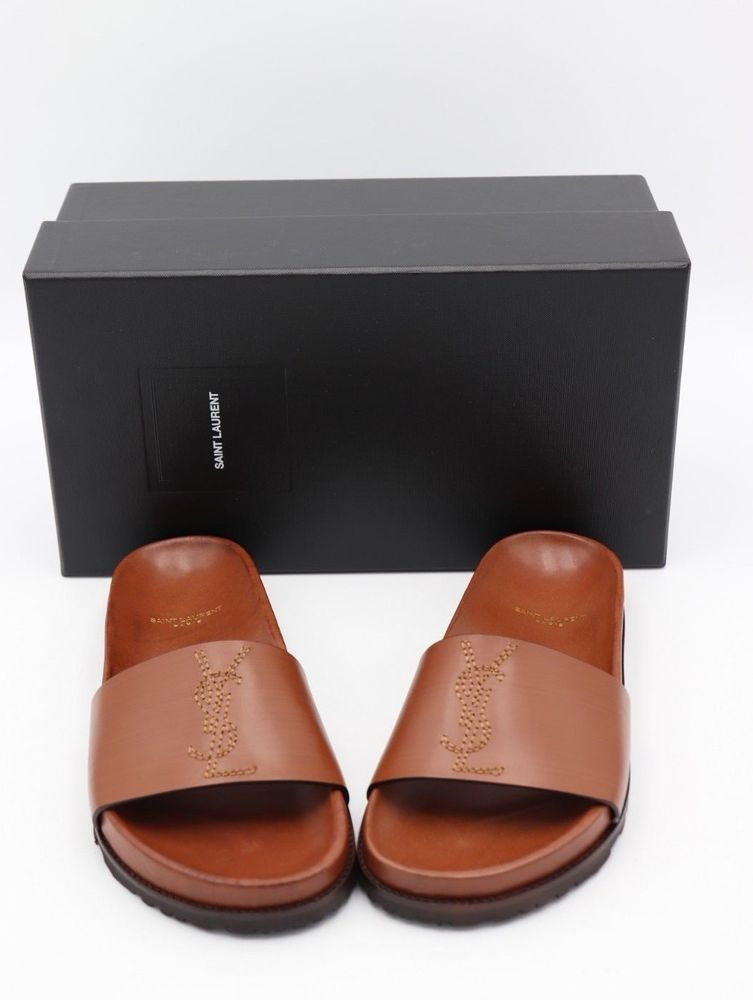 d0665c1aa75b NIB YSL Yves Saint Laurent Jimmy Brown Leather Logo Slide Sandals 7 37   YvesSaintLaurent