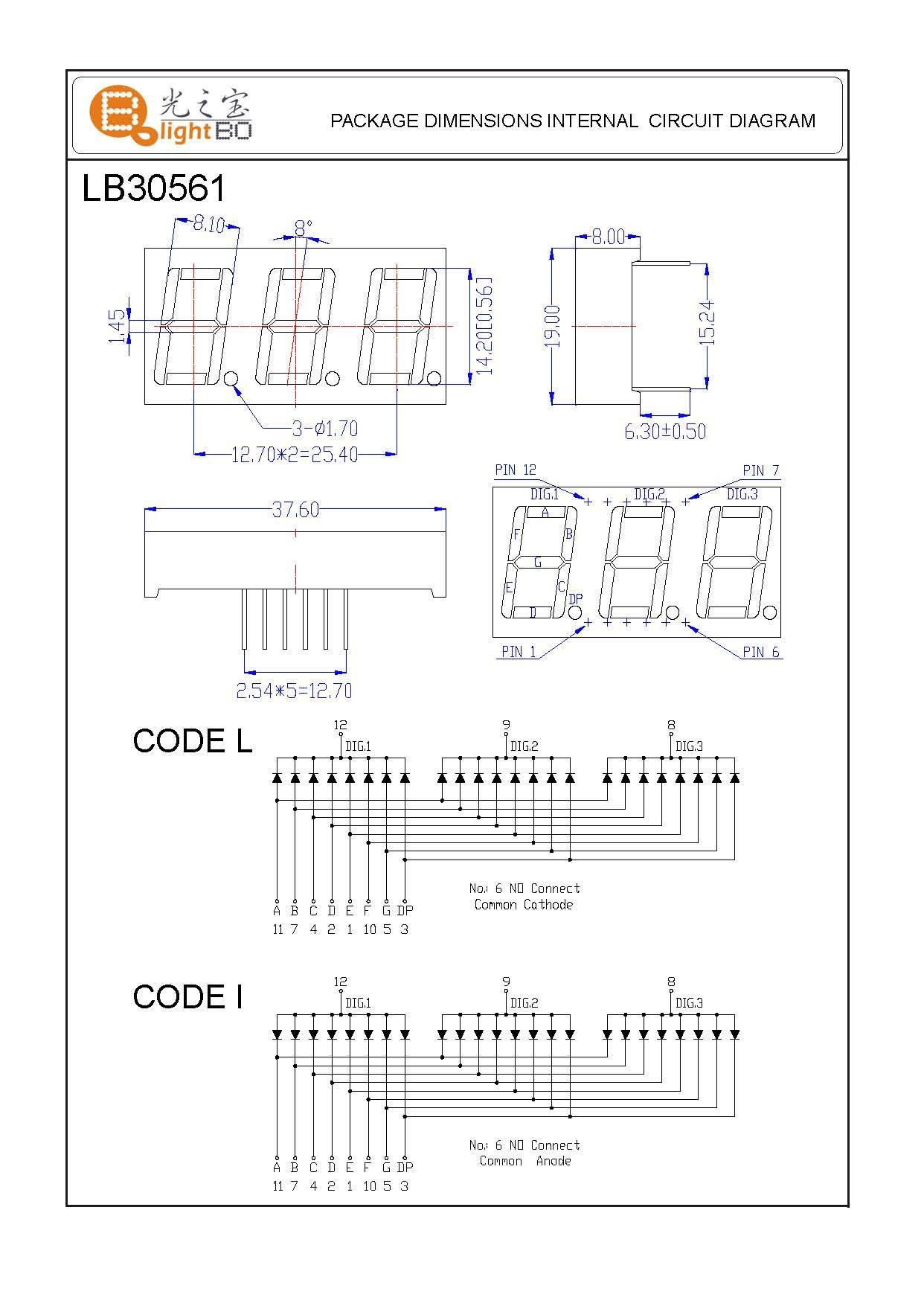 "Super green 3 digit 0.56"" 7 segment led display common cathode for  instrument panel indicator Manufacturer & supplier"