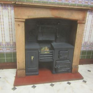 1/12 scale Dolls House, Built-in kitchen range Wood effect ...