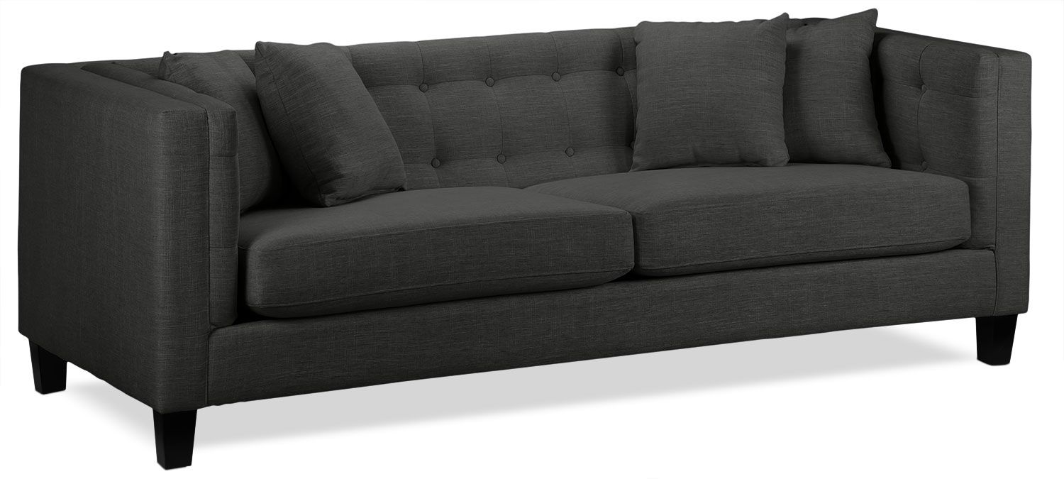 Astin Sofa - Dark Grey | Home | Sofa, Upholstered sofa, Chair, a half