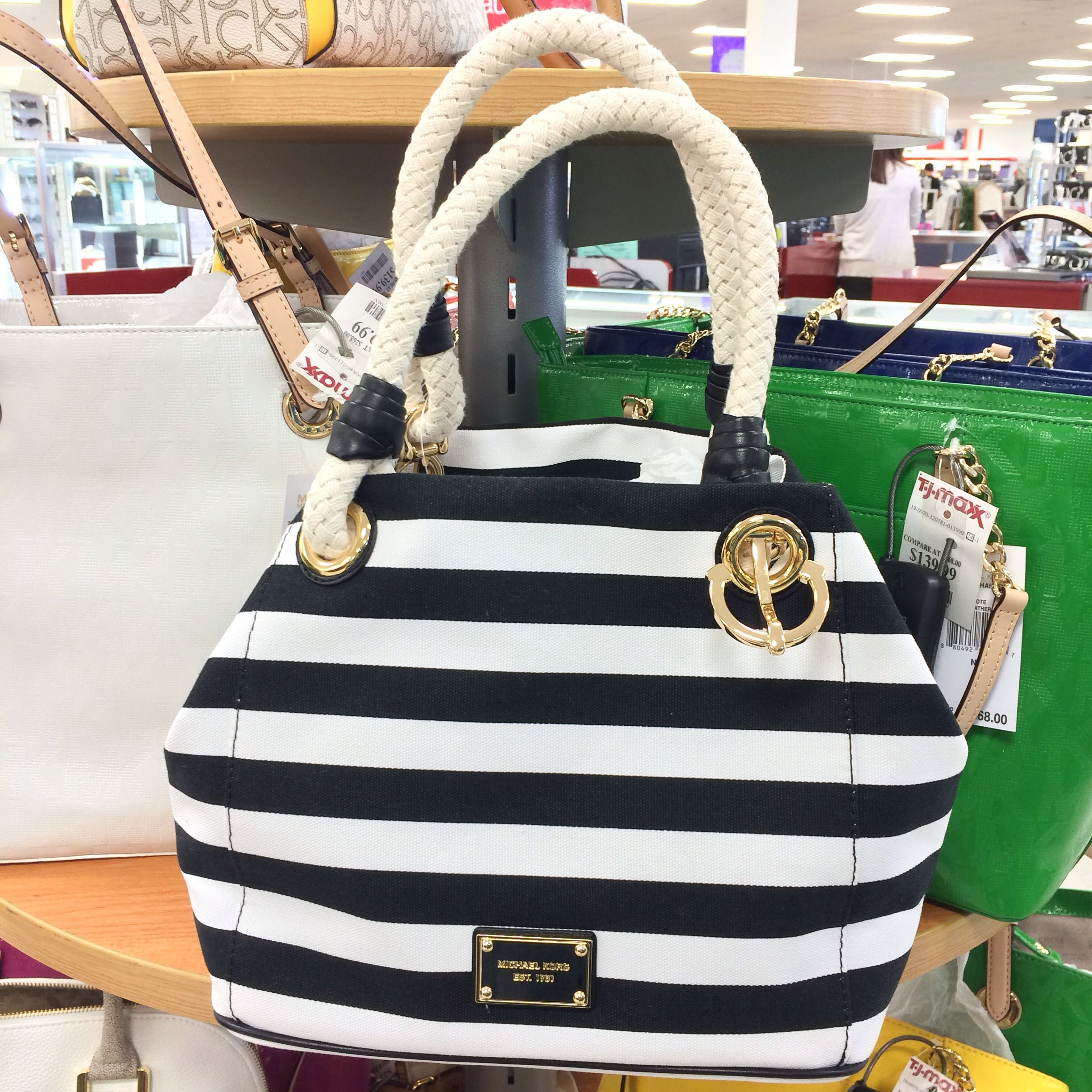 Michael Kors Nautical Striped Tote With Anchor