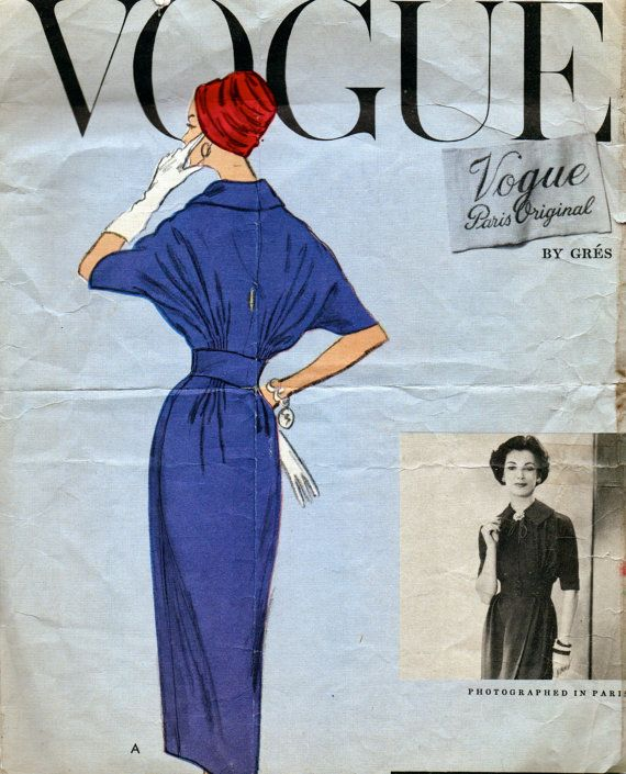 size 14 Vintage Vogue Original Sewing Pattern 1910 Lanvin designer Uncut Factory folded 1960 Misses one-piece  dress pattern