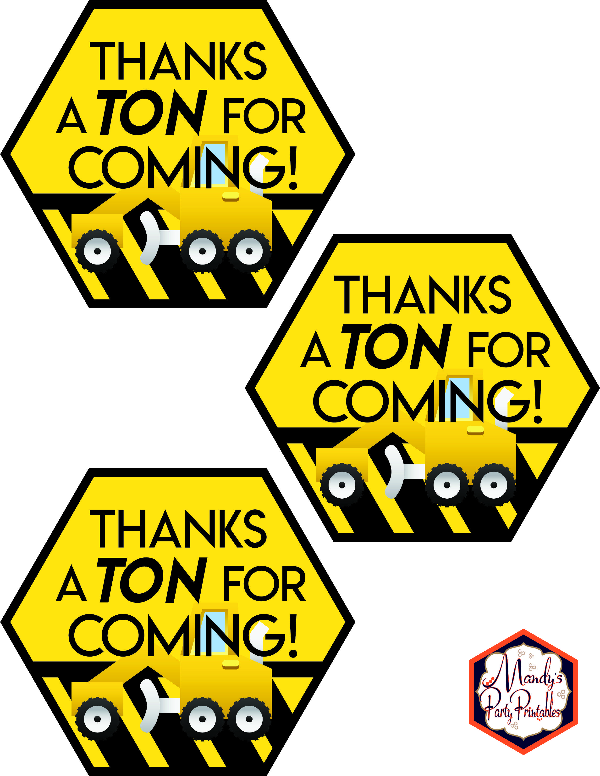 Construction Birthday Party Printables