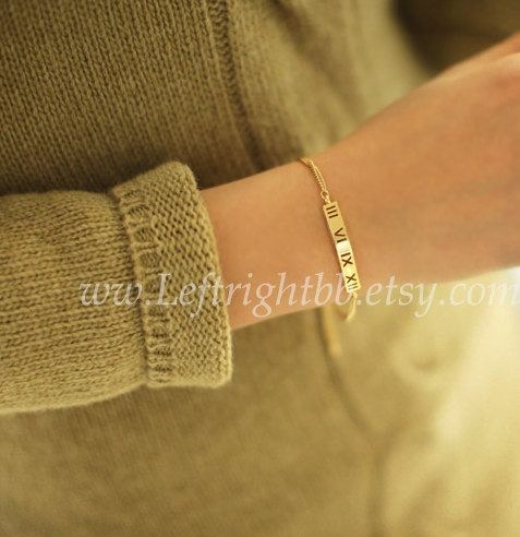 Gold Plated Roman Numbers Bracelet by leftrightbb on Etsy, $5.50