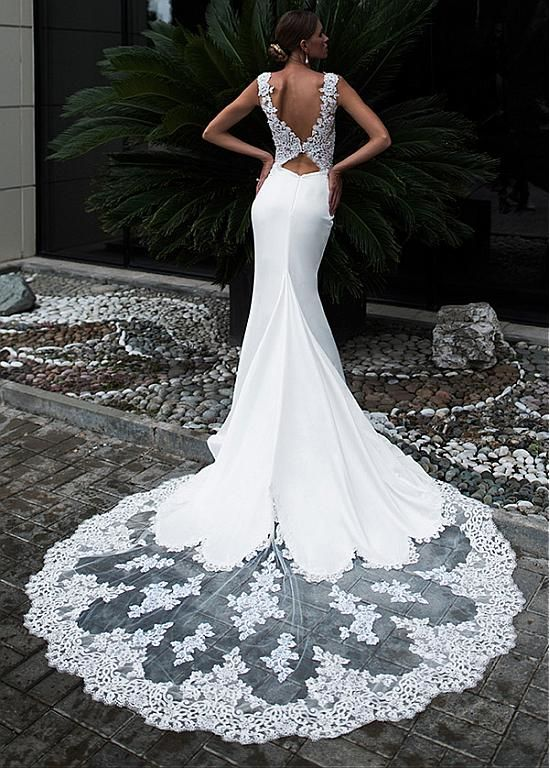 Magbridal Fascinating Tulle & Acetate Satin Jewel Neckline Mermaid Wedding Dress With #fit #fitness