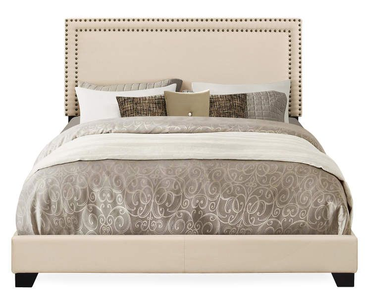 Cream Upholstered Queen Bed With Nailhead Trim With Images