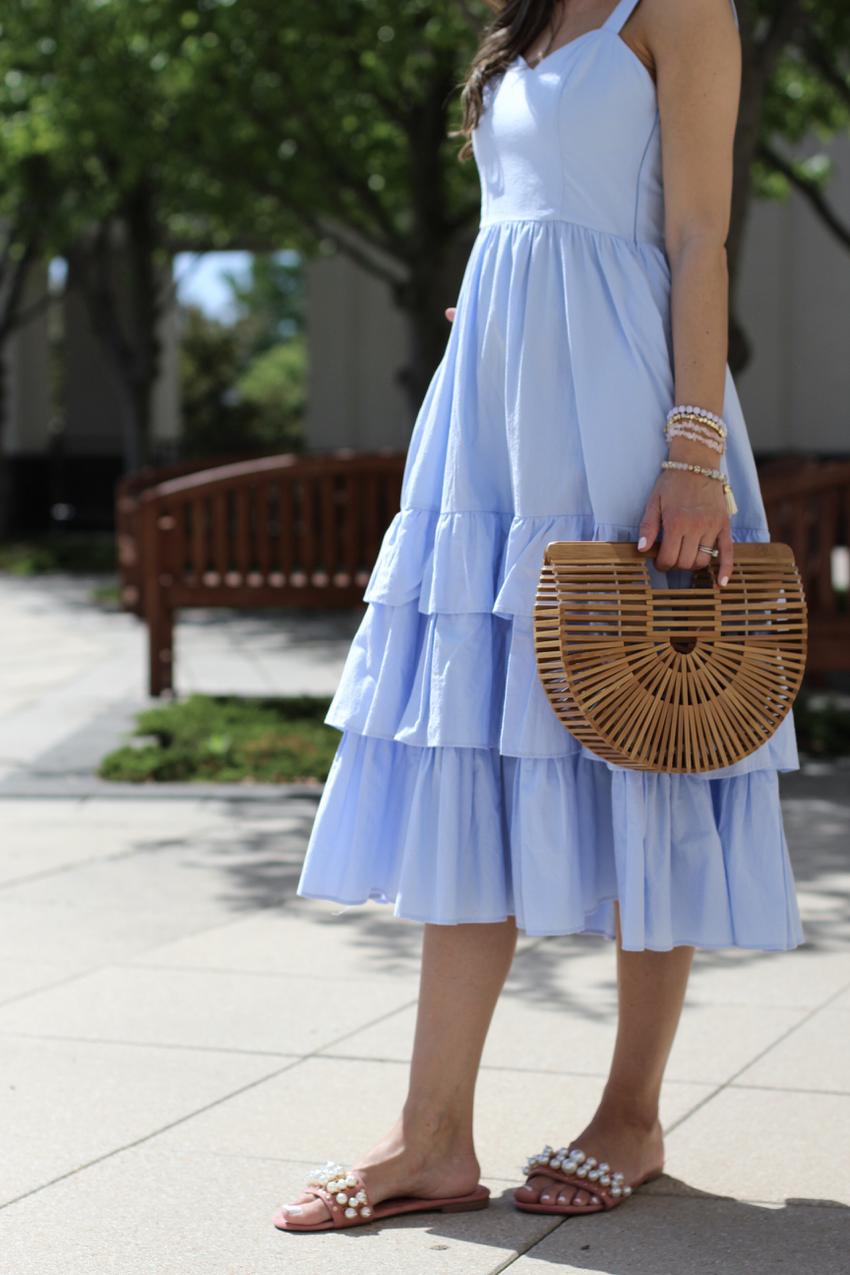 56a91326b55a light blue midi dress Light Blue Midi Dress, Chic Summer Outfits, Cute  Fashion,