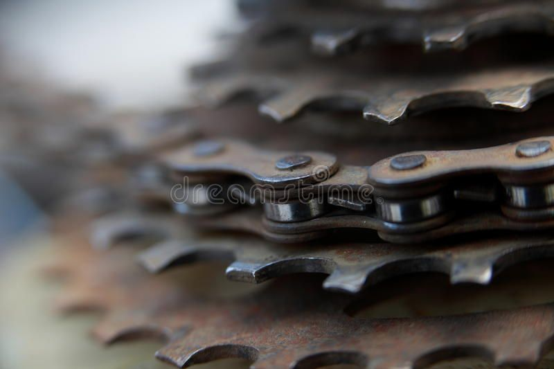 Bike Chain Gears Close Up Of A Rusty Old Bike Chain And Sprocket
