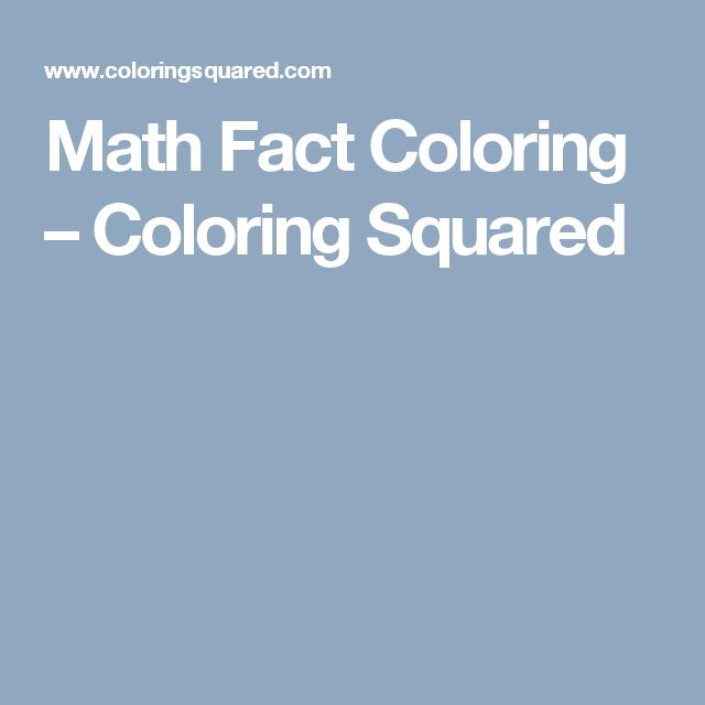 Math Fact Coloring | Pinterest | Math facts, Maths and Free math