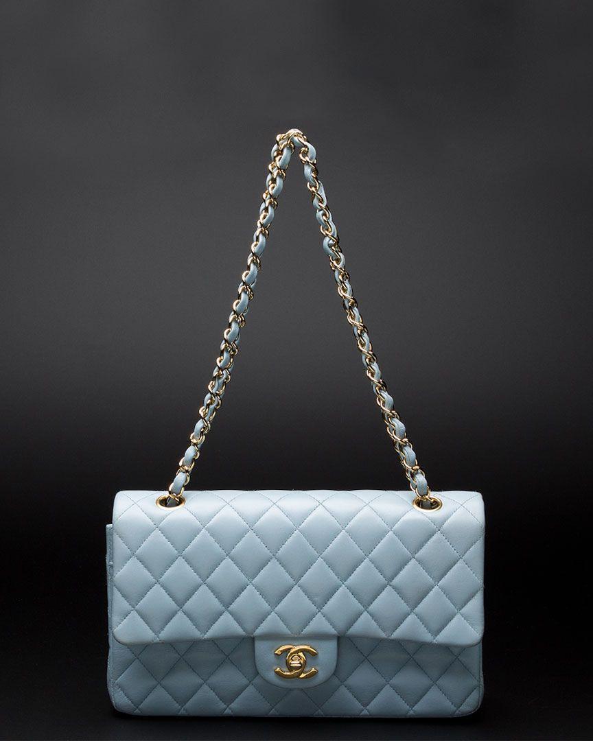 Chanel Light Blue Lambskin Classic 2.55 Double Flap Bag GHW  3199 ... cf6c0f190a