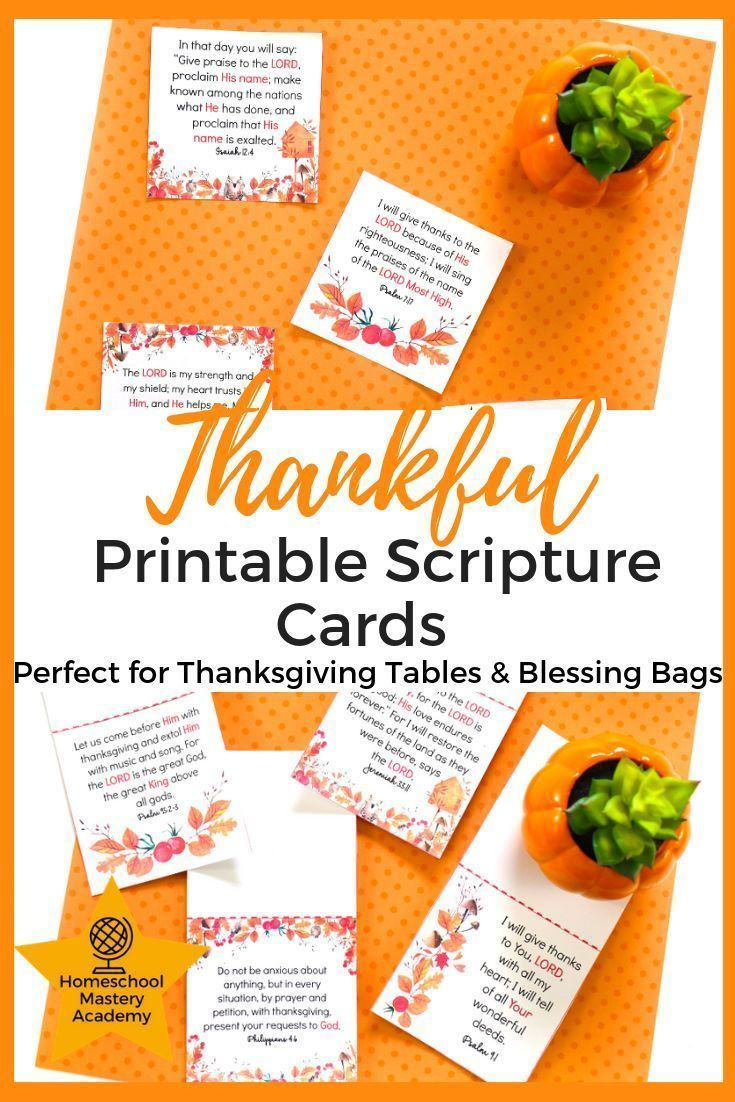 Thankful Printable Scripture Cards Perfect for Blessing Bags #blessingbags Thankful Printable Scripture Cards Perfect for Blessing Bags  Blessing Bag Inserts  Thanksgiving Table Toppers  Thanksgiving Scriptures  Bible Verse Inserts  Scripture Printables  Thanksgiving Scripture Printables  Thanksgiving Verses  #Th #blessingbags