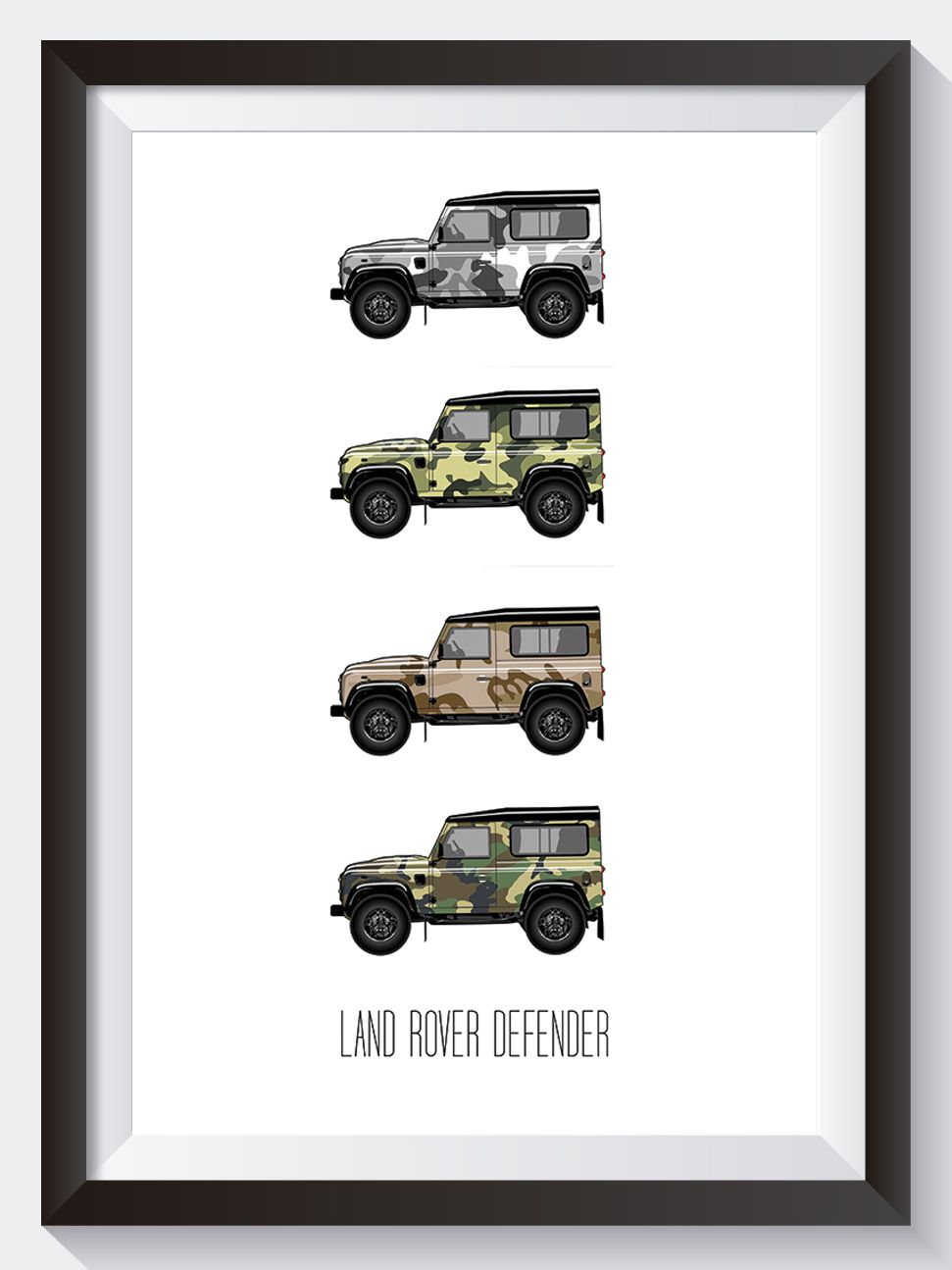 Can you see it??  Of cause you can!!   The Iconic Land Rover Defender is here and dressed in 4 types of camouflage.     	Premium silk 350gsm paper   	Free shipping to UK & Europe   	Discounted shipping available to USA & Rest of the World   	100% Customer Guarantee