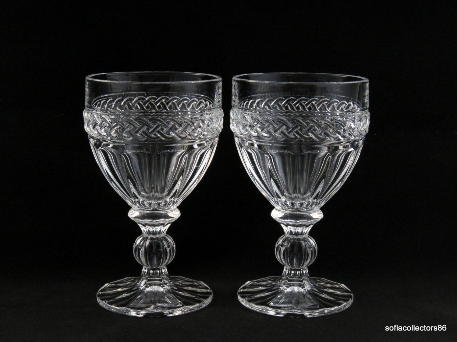 towle crystal water goblets water glasses with braided pattern and panels vintage 1960s stemware - Water Goblets