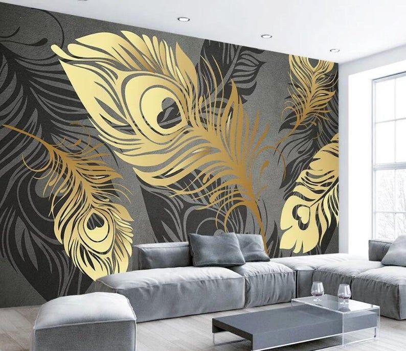3d Golden Feathers Gngn753 Wallpaper Mural Decal Mural Photo Etsy Mural Wallpaper Mural Art Wallpaper