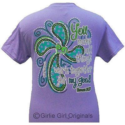 Girlie Girl Originals ALL THINGS-ROMANS 8:28 violet shortsleeve unisex fit adult